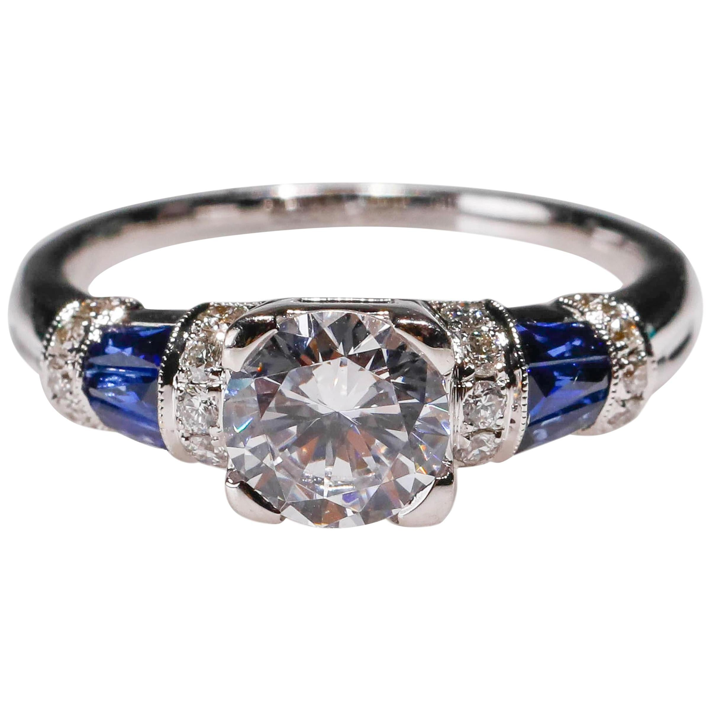 Blue Sapphire 0.2 Carat Round Cut Cubic Zirconia 18K White Gold Solitaire Ring