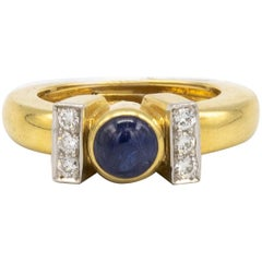 David Webb Sapphire & Diamonds Ring 18K Yellow Gold