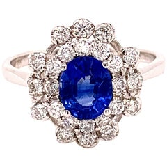 Sapphire 1.14 Carat White Gold Cocktail Ring