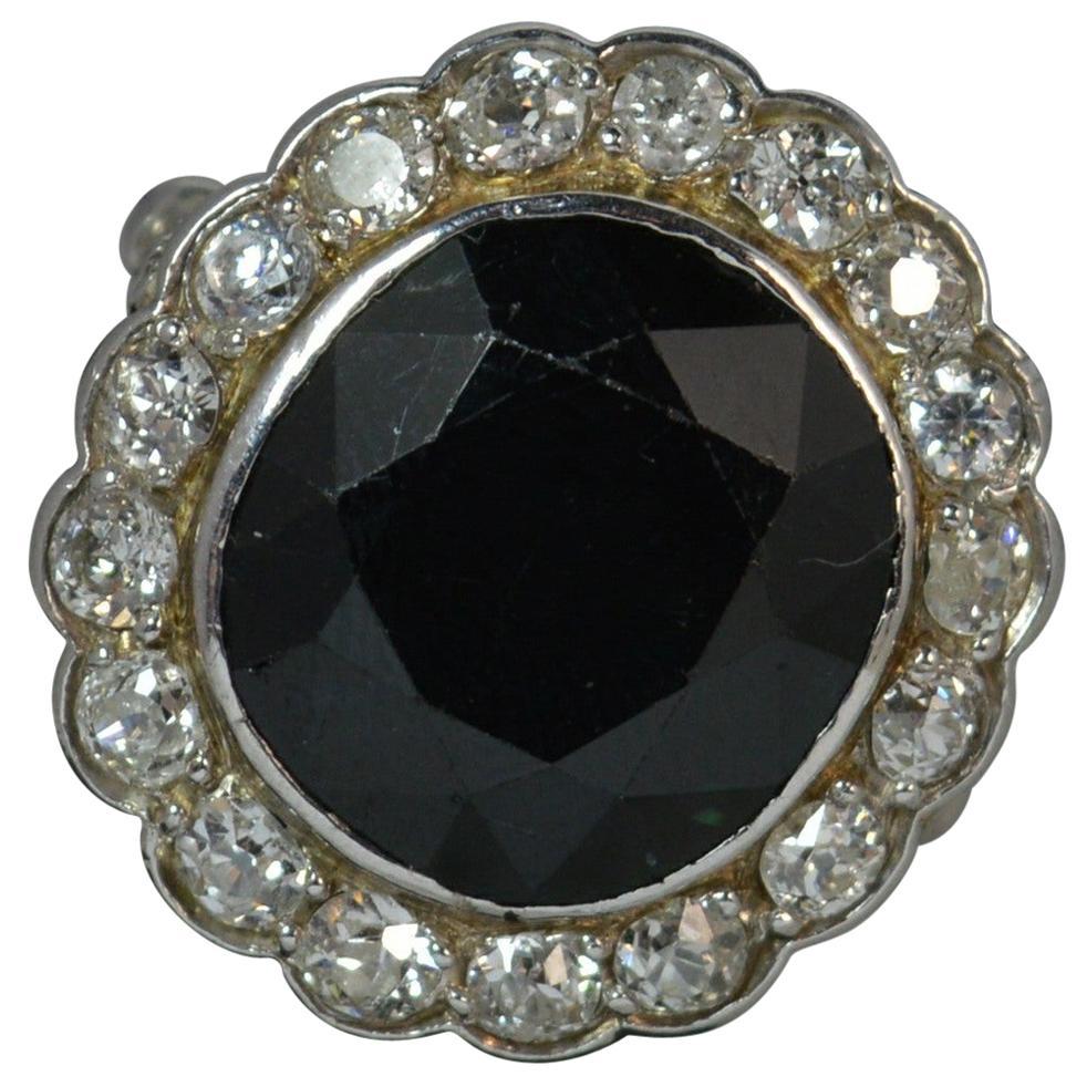 Sapphire 1.4 Carat Old Cut Diamond 18 Carat White Gold Cluster Ring