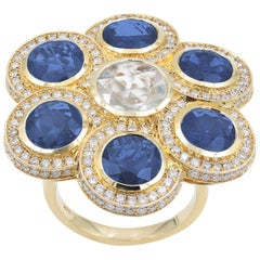 Sapphire 14k Gold Diamond Cocktail Ring