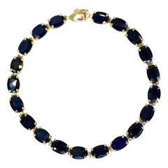 Sapphire 14k Gold Tennis Bracelet