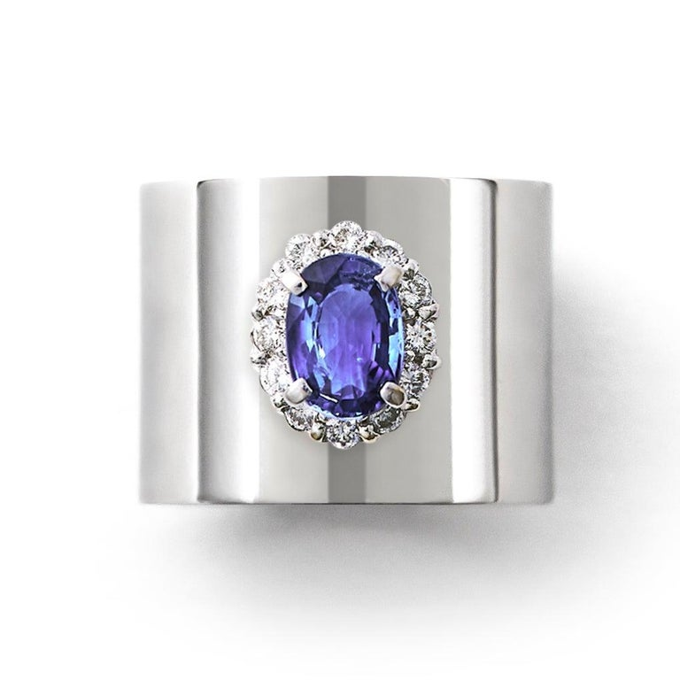 Sapphire 1.550 Carat Diamond 0.340 Carat Platinum Wide Band Ring In New Condition In Shibuya, Tokyo, JP