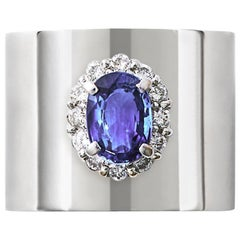 Sapphire 1.550 Carat Diamond 0.340 Carat Platinum Wide Band Ring