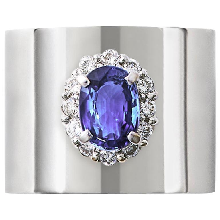 Sapphire 1.550 Carat Diamond 0.340 Carat Platinum Wide Band Ring