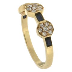 Sapphire 18 Karat Yellow Gold Diamonds Cocktail Ring