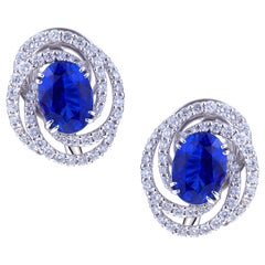 Sapphire 4 Carat Each Earring Gold with Circle of Diamonds with Certificate