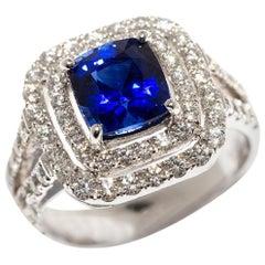 Sapphire 60 diamonds of 0.99 ct Sapphire Platinum Engagement Cocktail Ring
