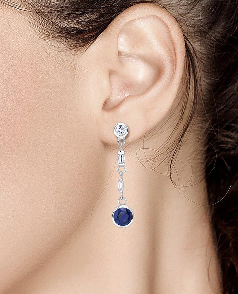 Contemporary Sapphire and Baguette Diamond Drop Earrings Weighing 2.30 Carat For Sale