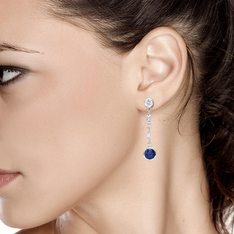 Women's Sapphire and Baguette Diamond Drop Earrings Weighing 2.30 Carat For Sale