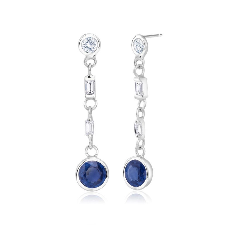 Round Cut Sapphire and Baguette Diamond Drop Earrings Weighing 2.30 Carat For Sale