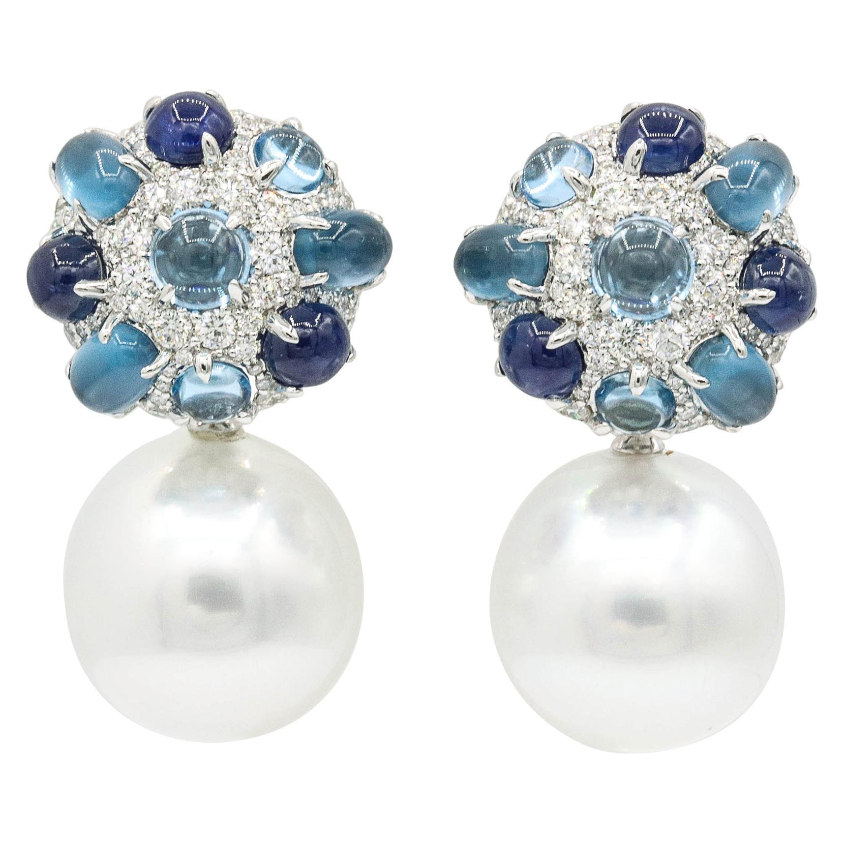 Sapphire and Blue Topaz South Sea Pearl Dangle Drop Earrings
