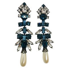 Sapphire and Clear Austrian Crystal and Lucite Pearl Drop Chandelier Earrings