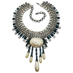 Sapphire and Clear Austrian Crystal Mauvé Pearl Fringed Collar Necklace
