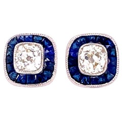Sapphire and Cushion-Cut Diamond Platinum Halo Stud Earrings Estate Fine Jewelry