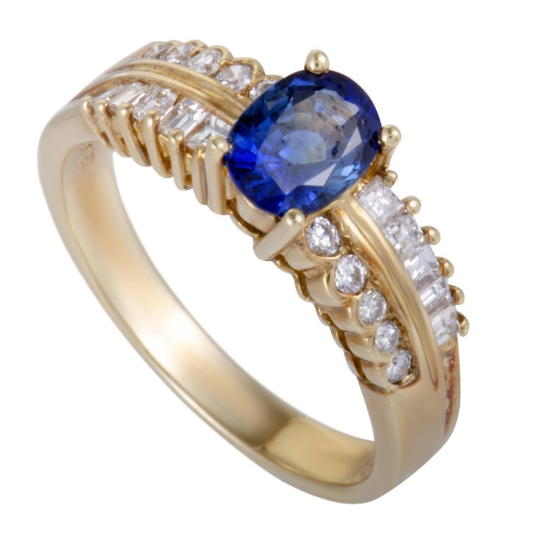Sapphire and Diamond Gold Band Ring