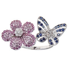 Multicolor Round Sapphire Diamond Flower Butterfly Cocktail Ring 14 White Gold