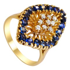 Sapphire and Diamond 14 Karat Gold Ladies Ring