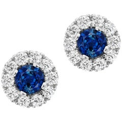 Sapphire and Diamond 14 Karat Gold Stud Earrings