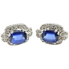 Sapphire and Diamond 14 Karat White Gold Earrings