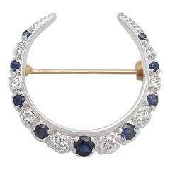 Sapphire and Diamond, 15 Karat Yellow Gold Crescent Brooch, Antique