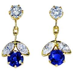 Sapphire and Diamond 18 Karat Earrings