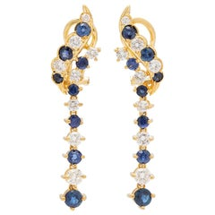 Sapphire and Diamond 18 Karat Gold Earrings