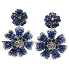Sapphire and Diamond 18 Karat Gold Floral Earring