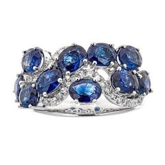 Oval Cut Blue Sapphire 0.27 ct Diamond Wedding Band Ring in 18 kt White Gold