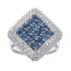 2.50 TCW Blue Sapphire Diamond Accent Diamond Cocktail Ring 18 karat White Gold
