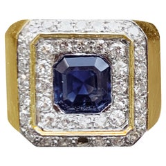 Sapphire and Diamond 18 Karat Yellow and White Gold Ring