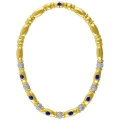Sapphire and Diamond 18 Karat Yellow Gold Necklace