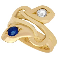 Sapphire and Diamond, 18 Karat Yellow Gold Snake Ring, Antique, circa 1907
