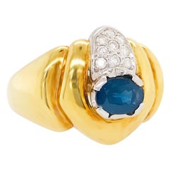Sapphire and Diamond 18 kt Yellow Gold Statement Ring, 18k Gold Dome Ring Blue