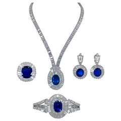 Mouawad Sapphire and Diamond 5-Piece Platinum Set