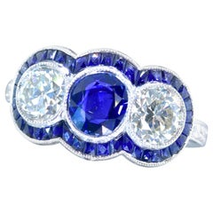 Sapphire and Diamond and Platinum Contemporary Ring