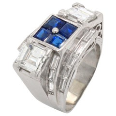Sapphire and Diamond Art Deco Ring, circa 1930s