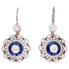 Sapphire and Diamond Art Deco Style Platinum Drop Earrings Fine Estate Jewelry