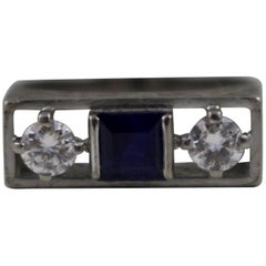 Sapphire and Diamond Art Deco Style Three-Stone Ring