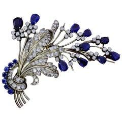 Sapphire and Diamond Art Nouveau Brooch