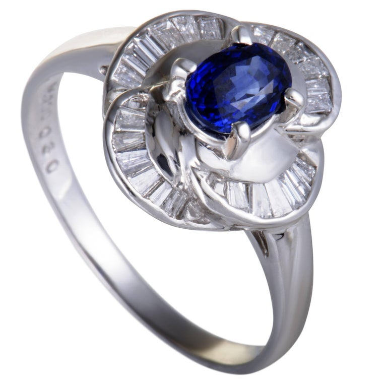 Sapphire and Diamond Baguette Platinum Cocktail Ring