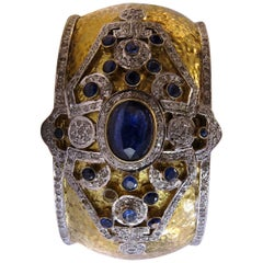 Vintage Sapphire and Diamond Bangle Bracelet 18 Karat Gold on Silver