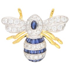 Sapphire and Diamond Bee Brooch Set in 18 Karat Yellow and White Gold