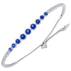 Sapphire and Diamond Bezel Set Bolo Bracelet