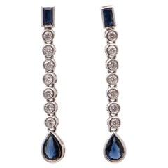 Sapphire and Diamond Bezel Set Drop Earrings in 18 Carat White Gold