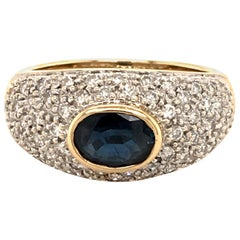Sapphire and Diamond Bombe Ring in Yellow and White Gold