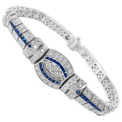 Sapphire and Diamond Bracelet in 18 Karat White Gold 4.95 Carat
