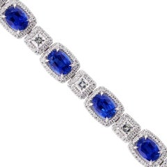 Sapphire and Diamond White Gold Bracelet