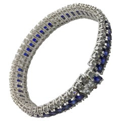 Sapphire and Diamond Bracelet Set in Platinum