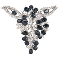 Sapphire and Diamond Brooch 12.35 Carat Sapphires 4.20 Carat Diamonds